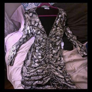 Fashion Nova Metallic Snakeskin slinky mini dress